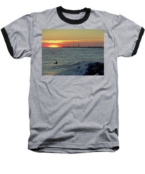 Baseball T-Shirt featuring the photograph Catching A Wave At Sunset by Ed Sweeney