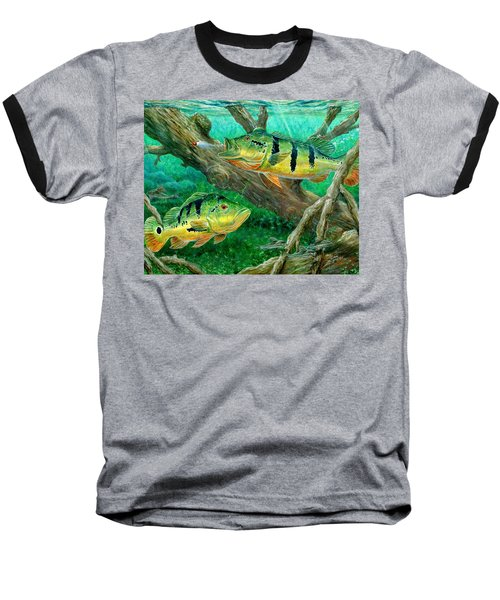 Catching Peacock Bass - Pavon Baseball T-Shirt