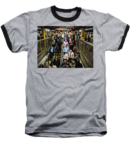 Catching The Subway Baseball T-Shirt