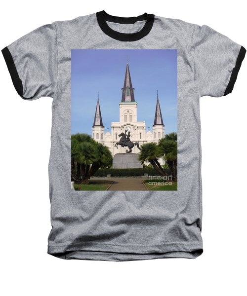 Baseball T-Shirt featuring the photograph Cathedral In Jackson Square by Alys Caviness-Gober