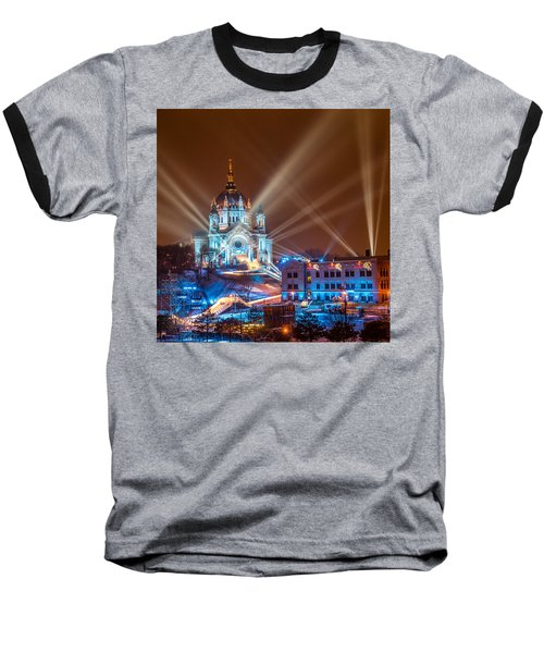 Cathedral Of St Paul Ready For Red Bull Crashed Ice Baseball T-Shirt by Paul Freidlund