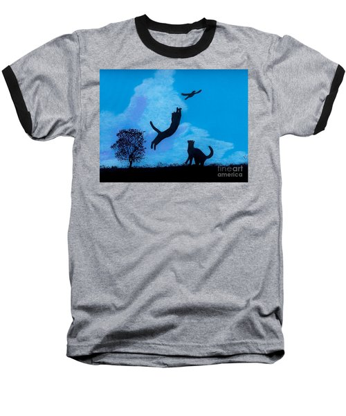Baseball T-Shirt featuring the drawing Cats -  Playing by D Hackett