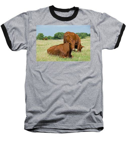 Baseball T-Shirt featuring the photograph Cattle Grazing In Field by Charles Beeler