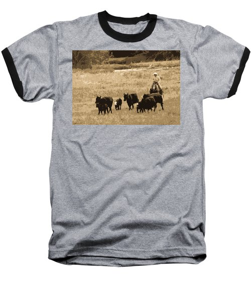 Cattle Round Up Sepia Baseball T-Shirt by Athena Mckinzie