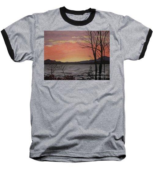 Caucomgomoc Lake Sunset In Maine Baseball T-Shirt
