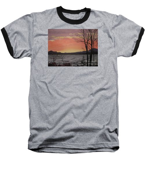 Caucomgomoc Lake Sunset In Maine Baseball T-Shirt