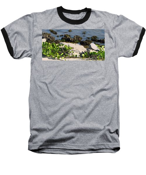 Baseball T-Shirt featuring the painting Causeway Shore Blues by Ecinja