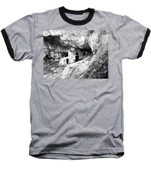 Baseball T-Shirt featuring the photograph cave church on Mt Olympus Greece by Nina Ficur Feenan