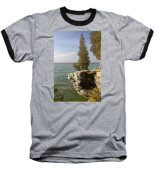 Cave Point - Signed Baseball T-Shirt by Barbara Smith