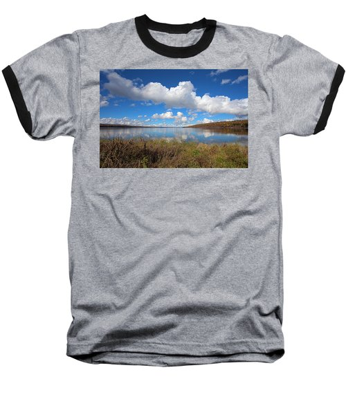 Baseball T-Shirt featuring the photograph Cayuga Lake In Colorful Fall Ithaca New York II by Paul Ge