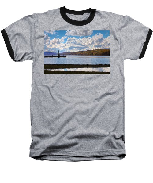 Baseball T-Shirt featuring the photograph Cayuga Lake In Colorful Fall Ithaca New York IIi by Paul Ge