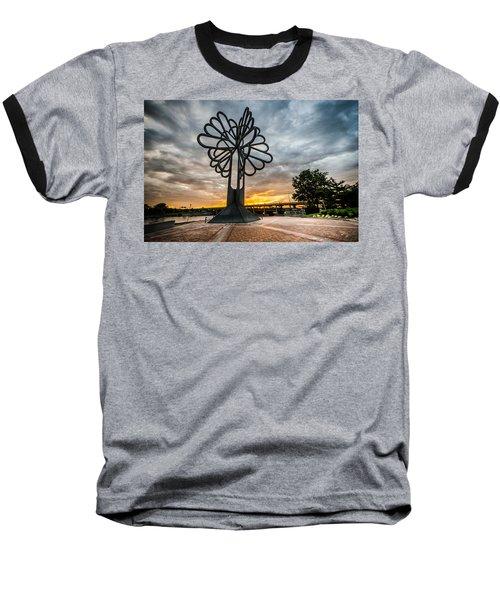 Cedar Rapids Five Seasons Tree At Sunset Baseball T-Shirt