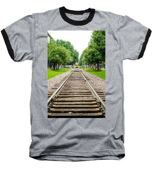 Cedar Rapids Train Coming Down The Tracks Baseball T-Shirt