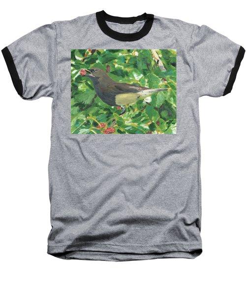 Cedar Waxwing Eating Mulberry Baseball T-Shirt