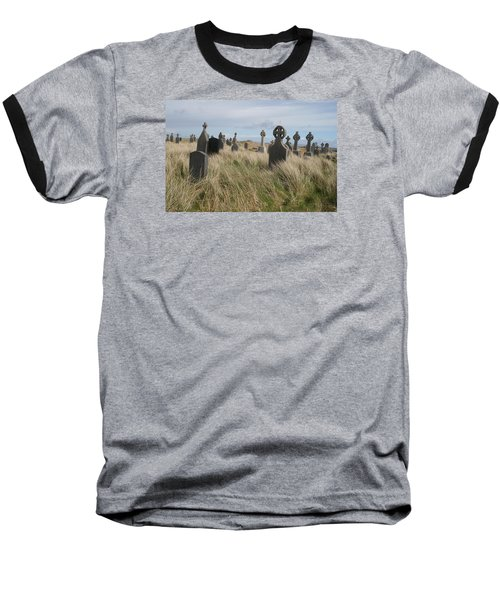 Baseball T-Shirt featuring the photograph Celtic Crosses Aran Island Cemetary by Melinda Saminski
