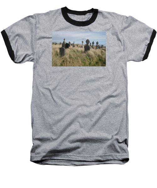Celtic Crosses Aran Island Cemetary Baseball T-Shirt by Melinda Saminski
