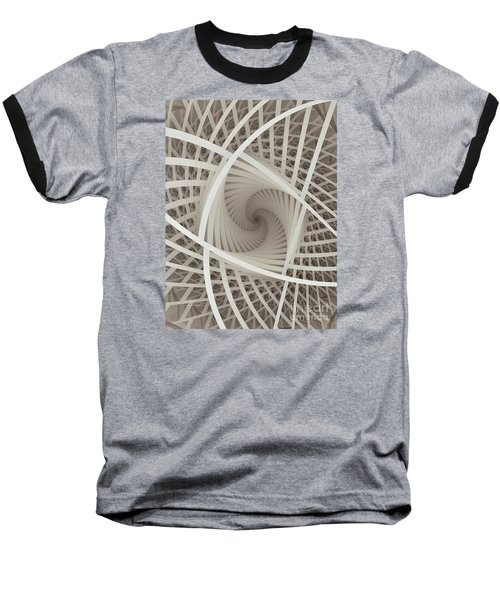 Centered White Spiral-fractal Art Baseball T-Shirt by Karin Kuhlmann