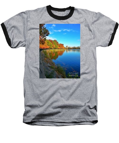 Central Park Autumn Landscape Baseball T-Shirt