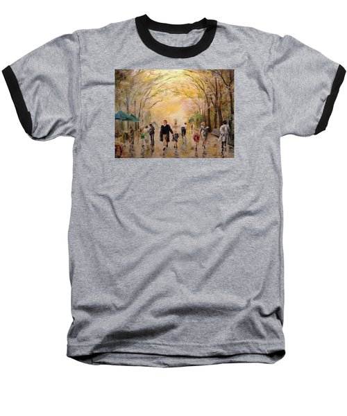Baseball T-Shirt featuring the painting Central Park Early Spring by Alan Lakin