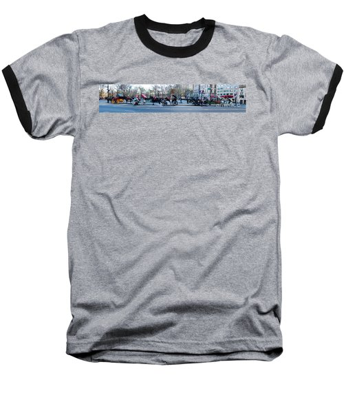 Central Park Horse Carriage Station Panorama Baseball T-Shirt