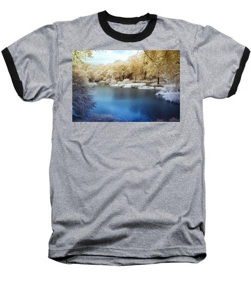 Central Park Lake Infrared Baseball T-Shirt