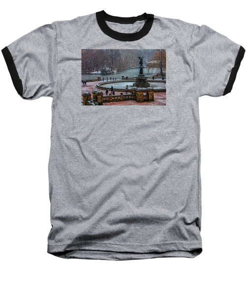 Central Park Snow Storm Baseball T-Shirt by Chris Lord