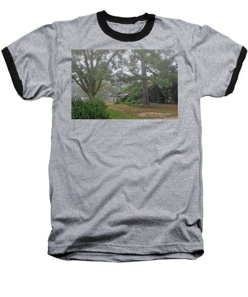 Baseball T-Shirt featuring the photograph Century-old Shed In The Fog - South Carolina by David Perry Lawrence