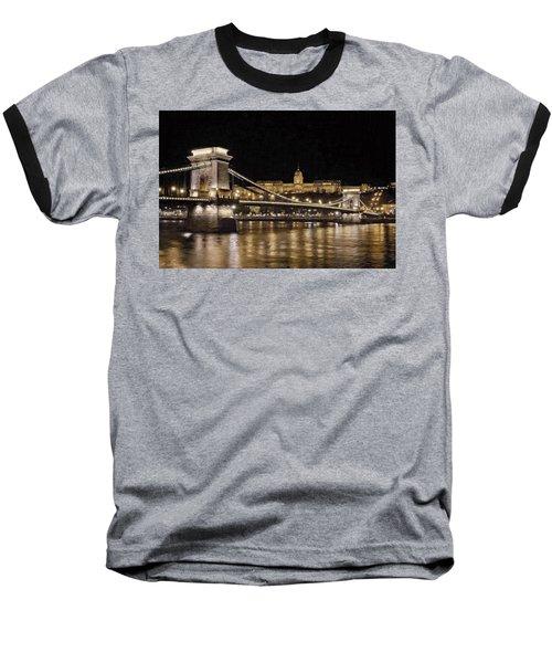 Chain Bridge And Buda Castle Winter Night Painterly Baseball T-Shirt
