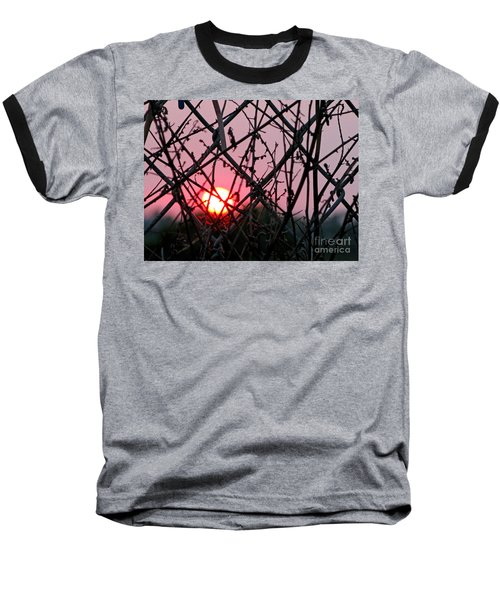 Baseball T-Shirt featuring the photograph Chain Link Sunset by Jennie Breeze
