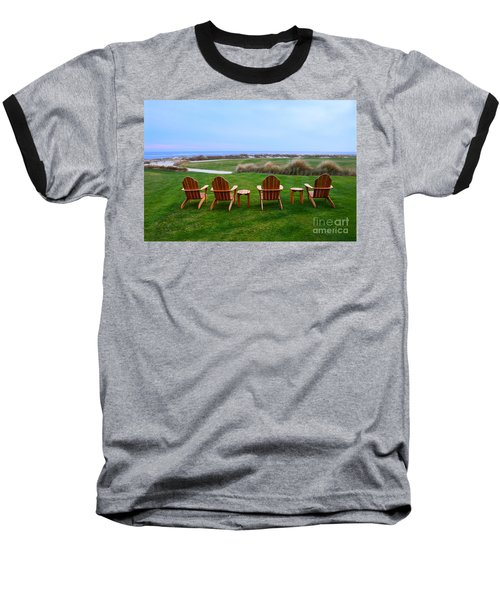 Chairs At The Eighteenth Hole Baseball T-Shirt by Catherine Sherman