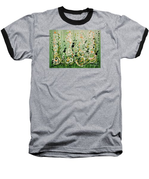 Baseball T-Shirt featuring the painting Champagne Symphony by Holly Carmichael