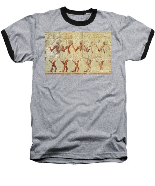 Chapel Of Hathor Hatshepsut Nubian Procession Soldiers - Digital Image -fine Art Print-ancient Egypt Baseball T-Shirt