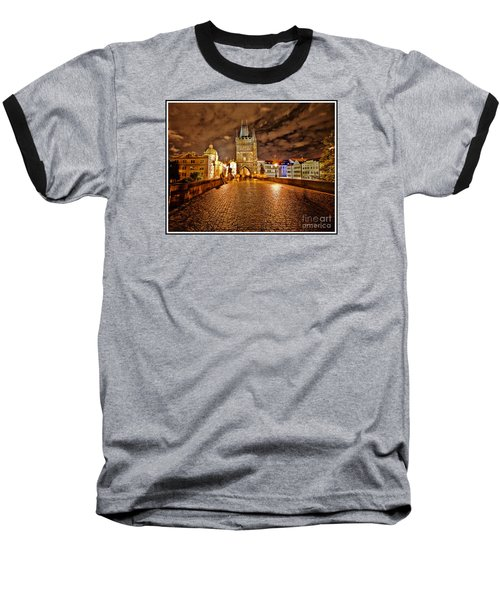 Charles Bridge At Night Baseball T-Shirt by Madeline Ellis