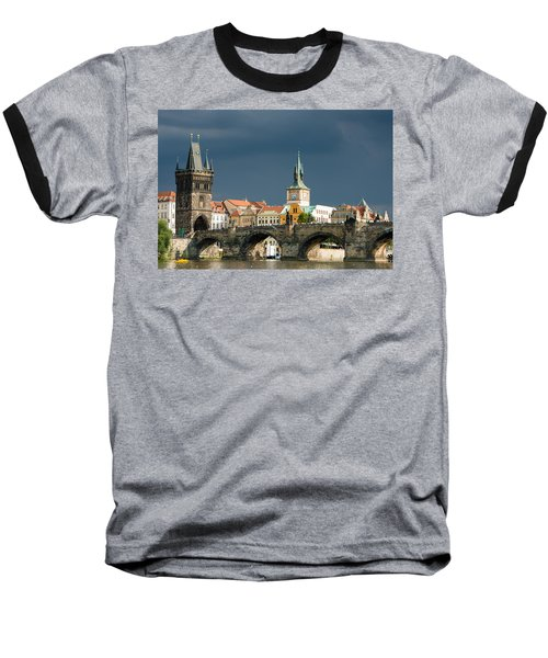 Charles Bridge Prague Baseball T-Shirt