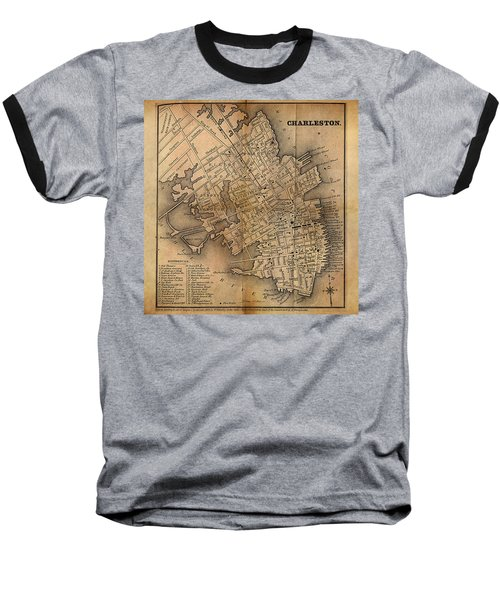 Baseball T-Shirt featuring the painting Charleston Vintage Map No. I by James Christopher Hill