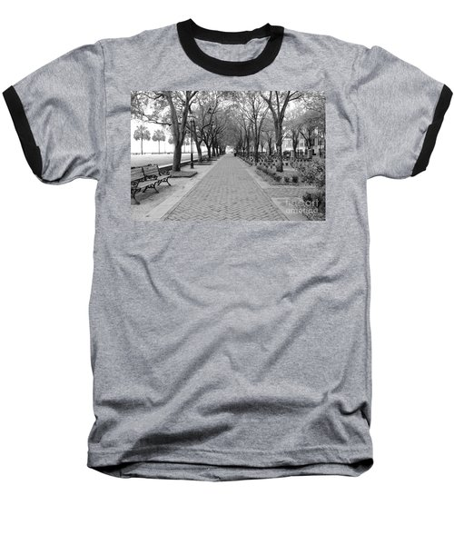 Charleston Waterfront Park Walkway - Black And White Baseball T-Shirt