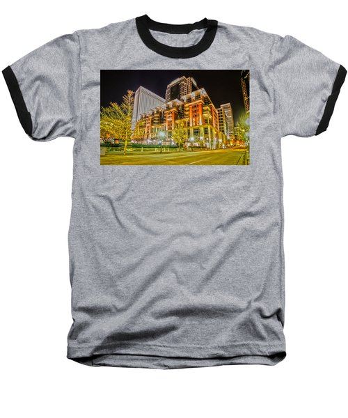 Charlotte City Skyline Night Scene Baseball T-Shirt