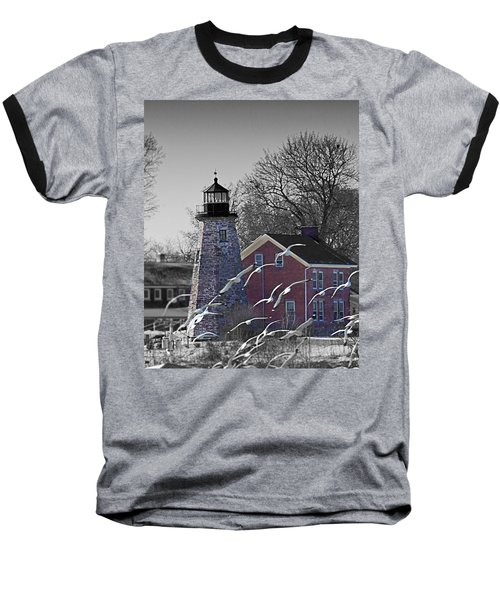 The Charlotte Genesee Lighthouse Baseball T-Shirt by Richard Engelbrecht