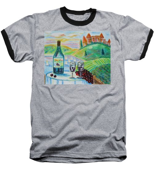 Chateau Wine Baseball T-Shirt by Diane Pape