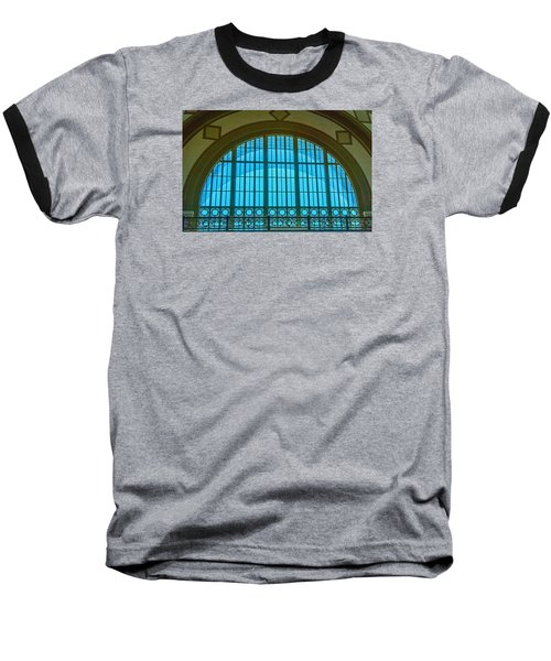 Baseball T-Shirt featuring the photograph Chattanooga Train Depot Stained Glass Window by Susan  McMenamin