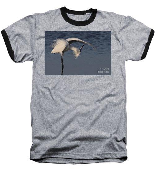 Checking For Leaks - Reddish Egret - White Form Baseball T-Shirt