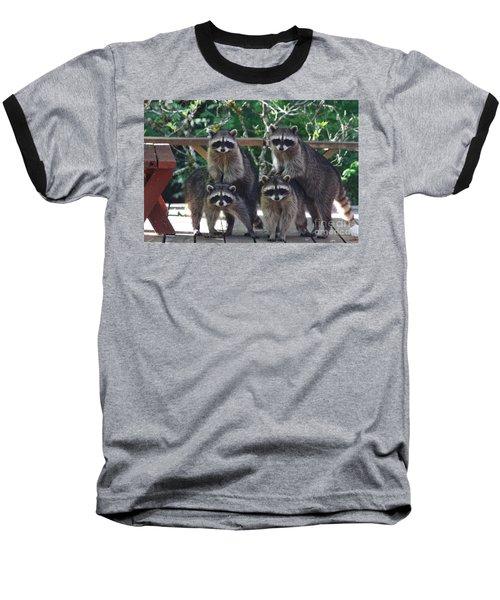 Cheerleading Raccoons Baseball T-Shirt