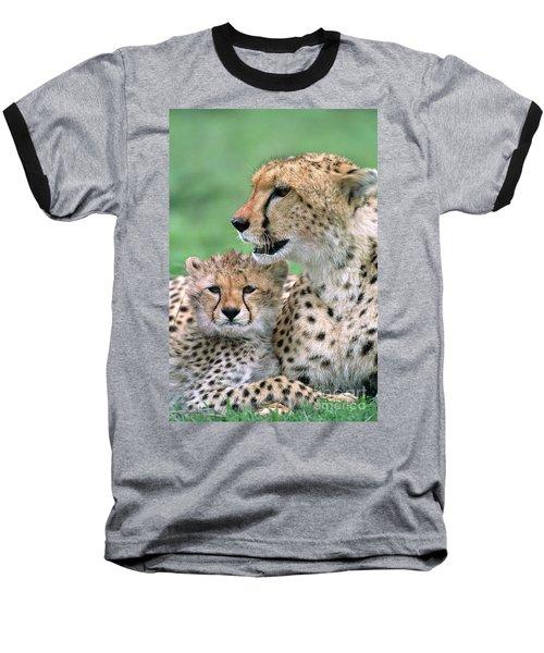 Cheetah Mother And Cub Baseball T-Shirt