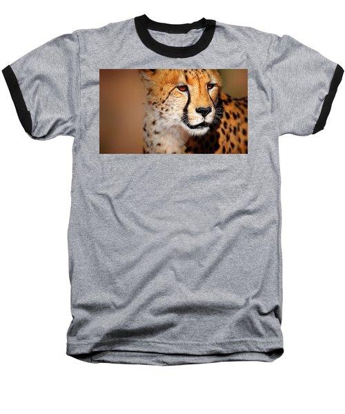 Cheetah Portrait Baseball T-Shirt