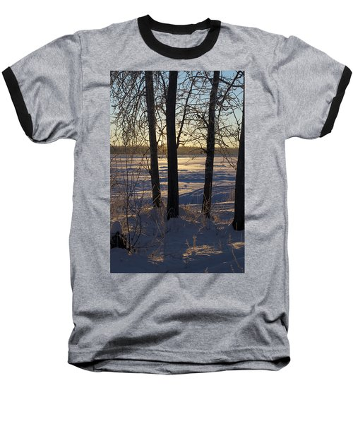 Chena River Trees Baseball T-Shirt by Cathy Mahnke