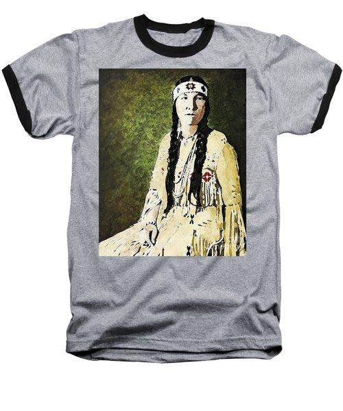 Baseball T-Shirt featuring the digital art Cherokee Woman by Lianne Schneider