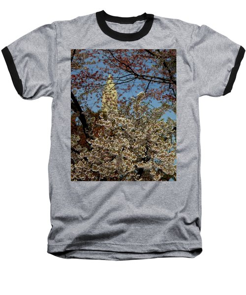 Cherry Blossoms And The Monument Baseball T-Shirt