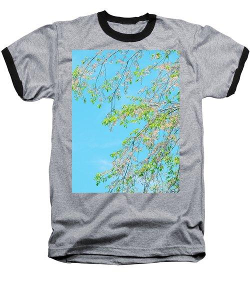 Baseball T-Shirt featuring the photograph Cherry Blossoms Falling by Rachel Mirror