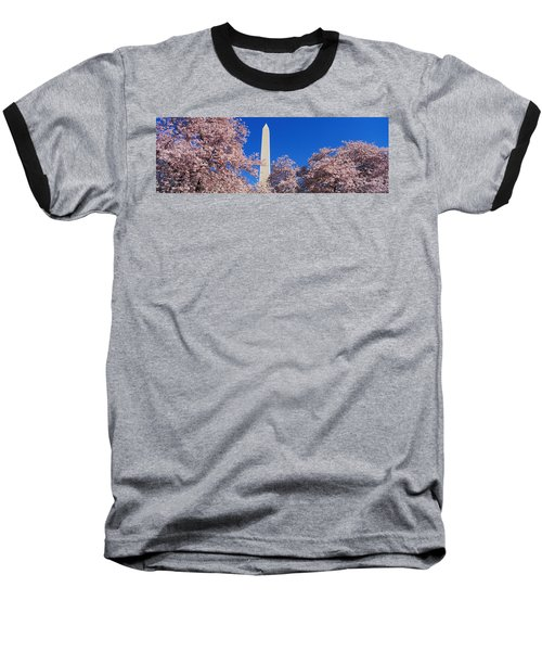 Cherry Blossoms Washington Monument Baseball T-Shirt by Panoramic Images