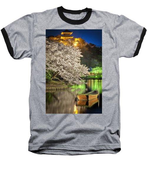 Cherry Blossom Temple Boat Baseball T-Shirt by John Swartz